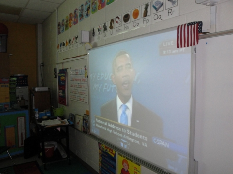 Students in all grades watched on ActivBoards using Promethean technology.